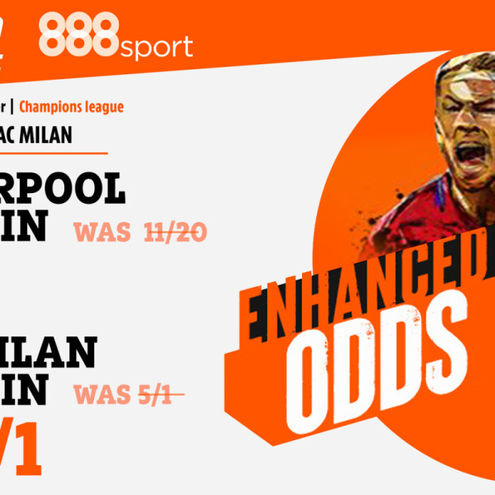 Bet up to £5 on Liverpool at 7/1 or AC Milan at a huge 40/1 with 888 Sport's Champions League special