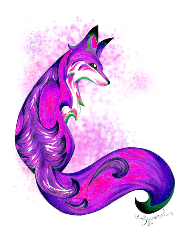 Purple Fox Fantasy Creature Colored Pencil Drawing