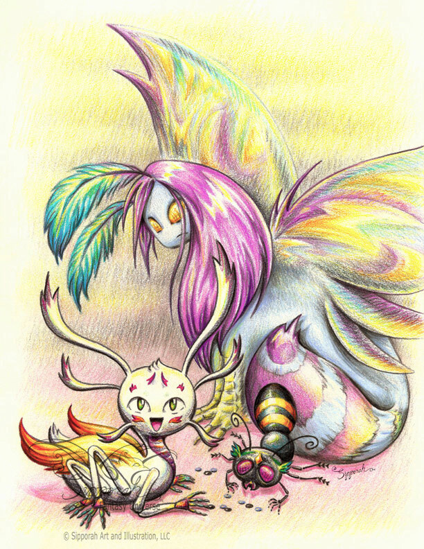 Fantasy Creatures Colored Pencil Drawing Bug Babysitting Illustrative Art