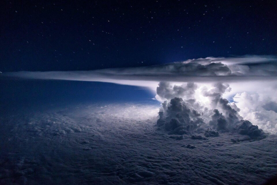 A storm seen from 37,000 feet above