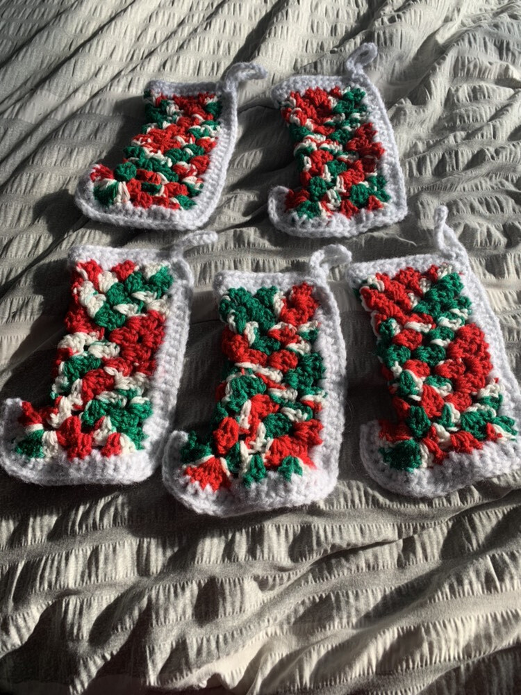 Christmas stockings stitched