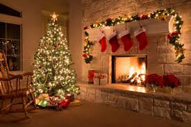 Fire and tree with stockings