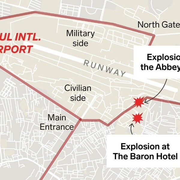 A map of the Kabul airport shows the choke points that make people trying to flee Afghanistan so vulnerable to attacks