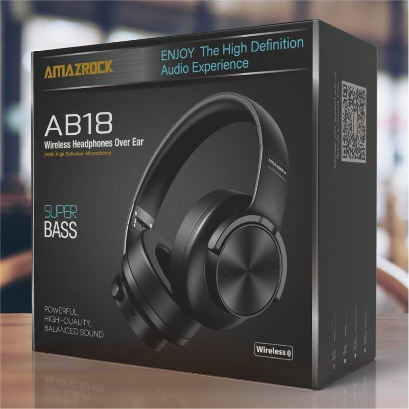 HD Over Ear Bluetooth Headphones with Mic AB18 Model | Amazrock Brands