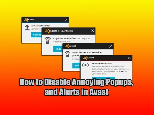 How to Disable Annoying Popups, Notification and Alerts in Avast?