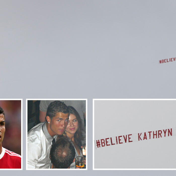 Ronaldo protest group flies 'Believe Kathryn Mayorga' banner naming his rape accuser over Old Trafford