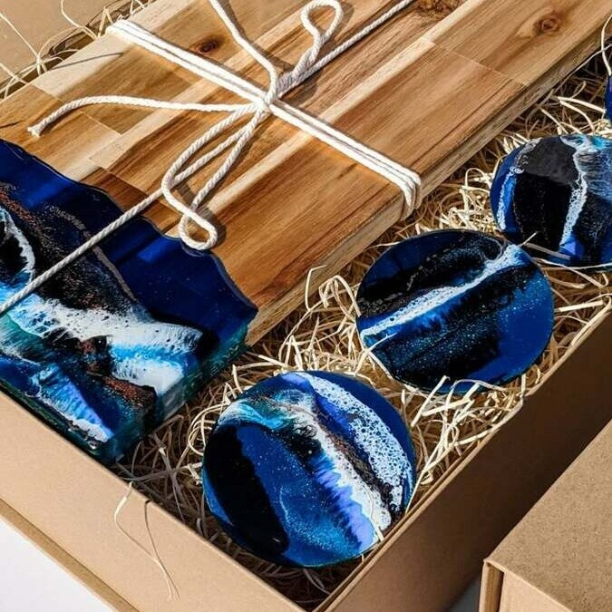 Blue Resin Gift Box   The Fifth Design