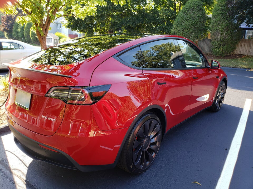 2020 Red Tesla Model Y Performance and the Panoramic Roof (photo by tracy_karin)