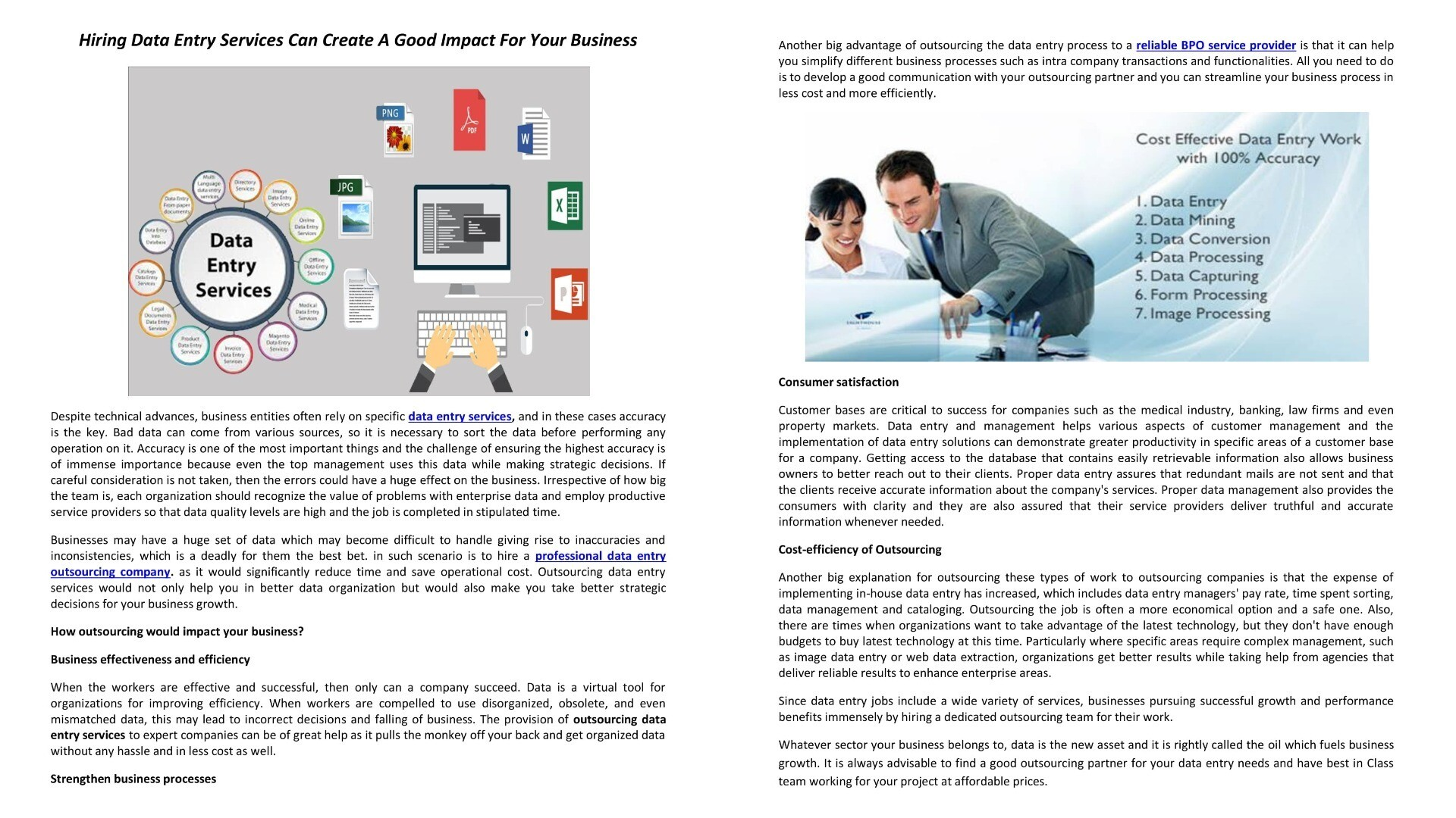 Hiring Data Entry Services Can Create A Good Impact For Your Business