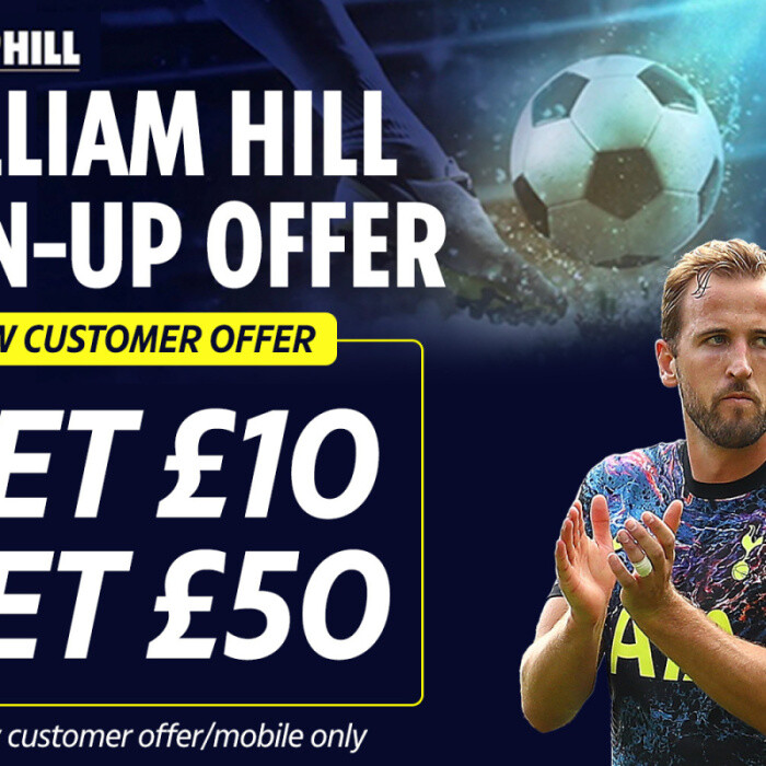 Free bet sign-up offer from William Hill: Get £50 in FREE bets when you sign up and place a £10 bet