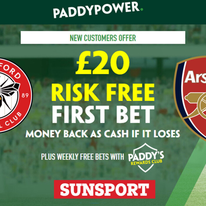 Brentford vs Arsenal – Claim £20 risk FREE BET on Premier League opener, plus 32/1 Paddy Power special odds boost
