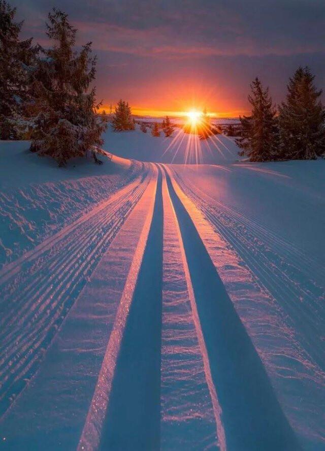 Sunset skiing.