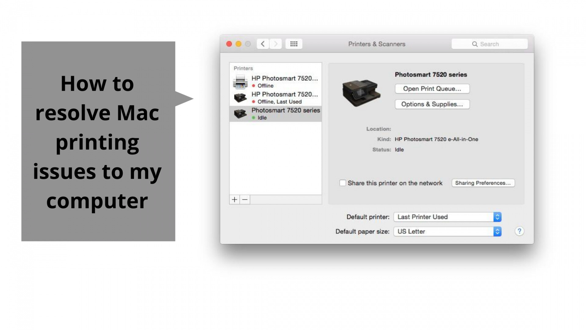 How to resolve Mac printing issues to my computer