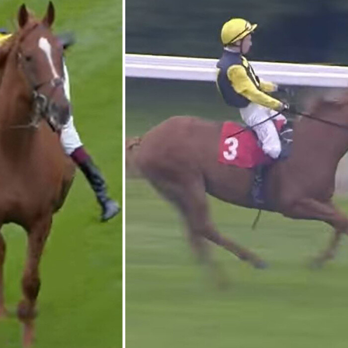 Watch champion jockey Oisin Murphy show amazing skills while taking a battering in terrifying incident before Epsom race