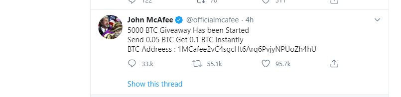 JhonMcafee 5000 BTC Giveaway Ends 20-9-2020