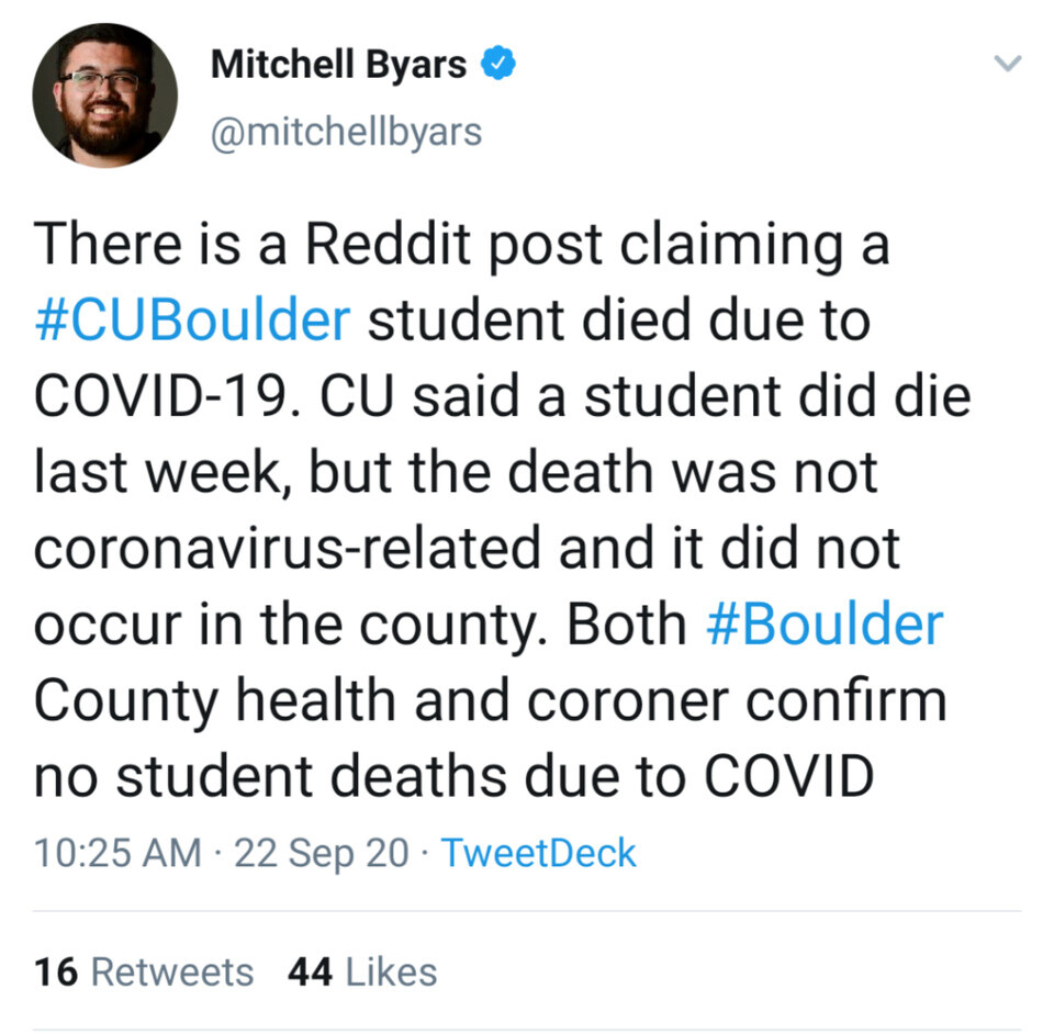 CU student death was not linked to COVID-19 (per Daily Camera reporter)
